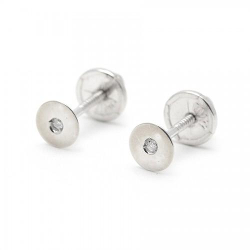 Pendientes Diamante Oro Blanco Círculo