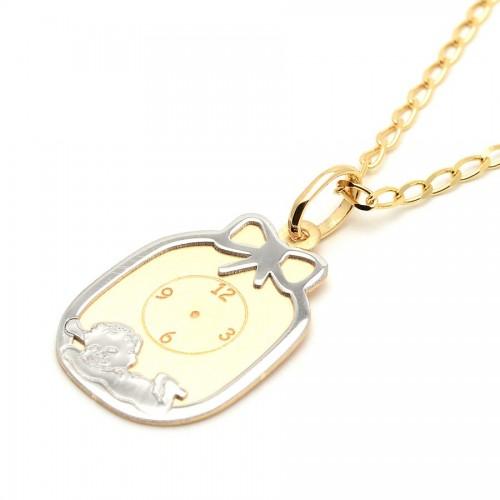 Placa Oro Bebé Reloj Lazo