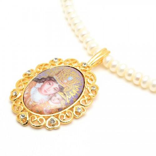 Collar Perlas Medalla Virgen Desamparados