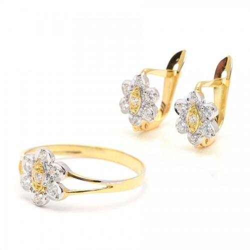 Conjunto Oro Bicolor Flor Circonitas