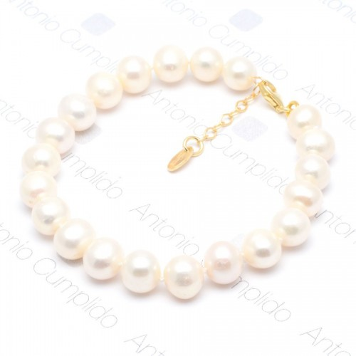 Pulsera Lotus Dorada Perlas Blancas