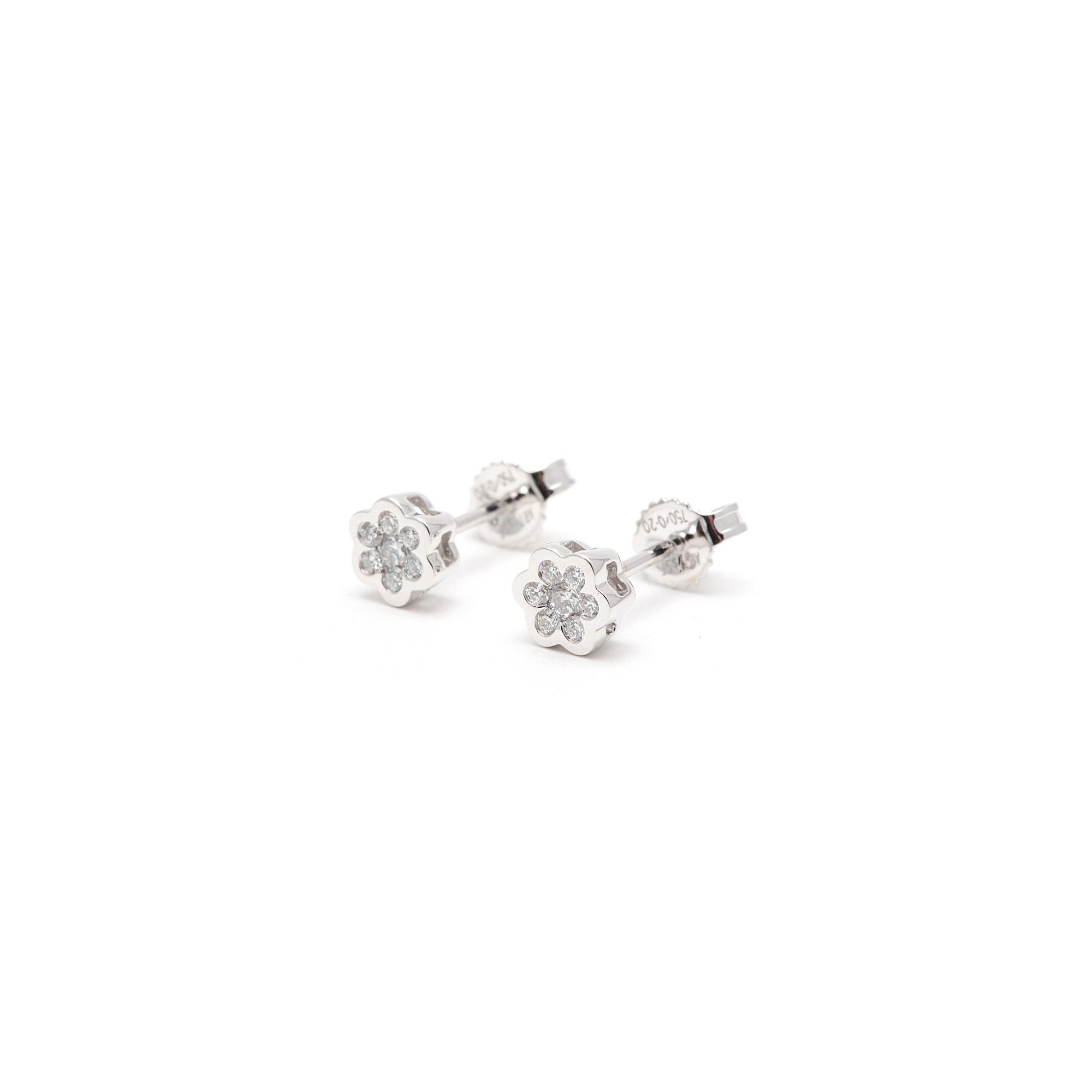 816ee84d9230 Pendientes Oro Blanco Mujer Chica Niña Comunión Flor Diamantes