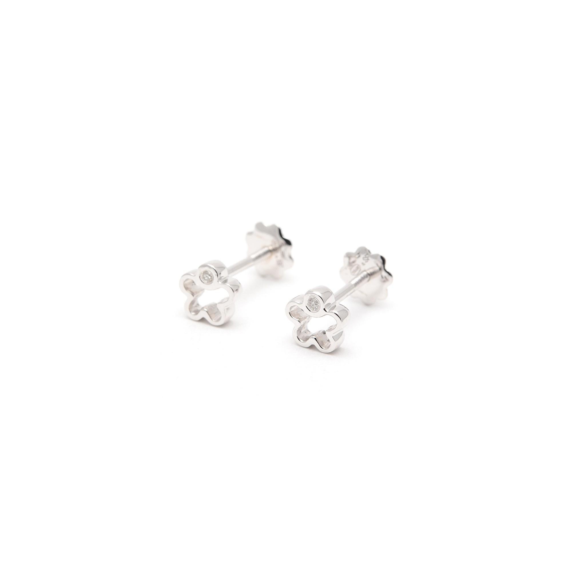 comprar popular c1607 22902 Pendientes Oro Blanco Bebé Niña Infantil Rosca Flor Diamante