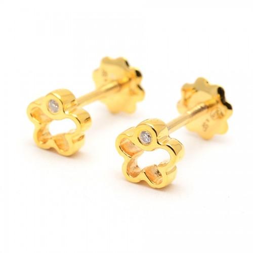 Pendientes Diamantes Oro Flor