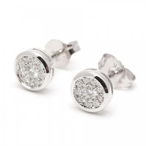 Pendientes Diamantes Oro Blanco Rosetón