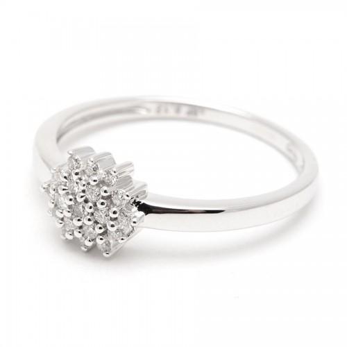 Sortija Oro Blanco Rosetón Diamantes