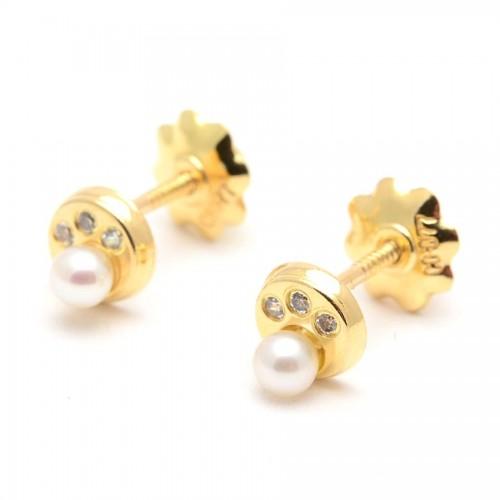 Pendientes Oro Perla Circonitas
