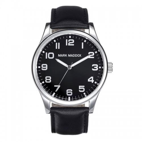 Reloj Mark Maddox Plateado Correa Negra
