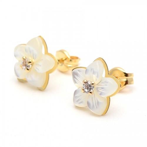 Pendientes Oro Flor Nácar Circonita