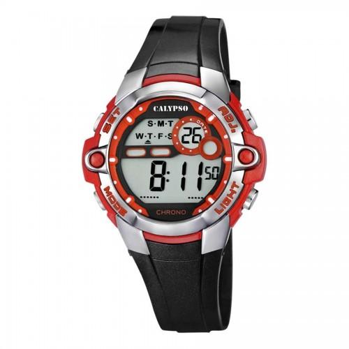 Reloj Calypso Digital Negro Rojo Correa Goma