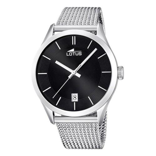 Reloj Lotus Retro Negro Brazalete Malla Acero
