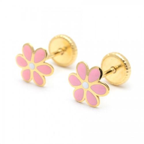 Pendientes Oro Flor Rosa