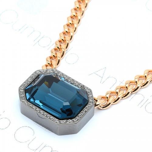 Collar Rebecca Dorado Swarovsky Azul