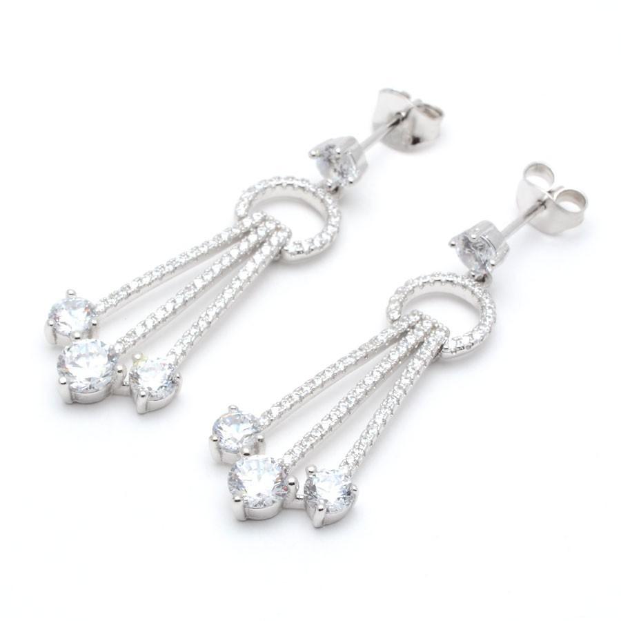 Pendientes Plata Largos Cristales