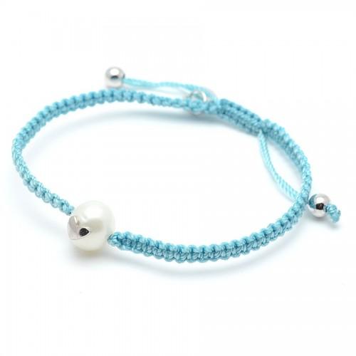 Pulsera Plata Agatha Cordón Azul Perla Corazón