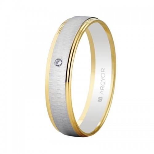 Alianza Oro Diamante Bicolor Texturizada