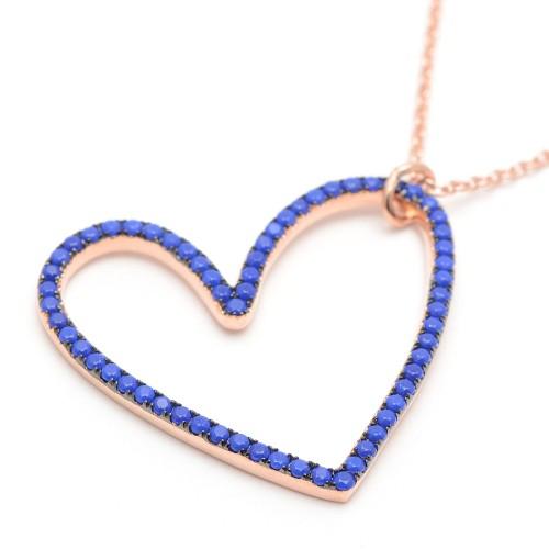 Pendientes Plata Dorados Agatha Corazón Azul