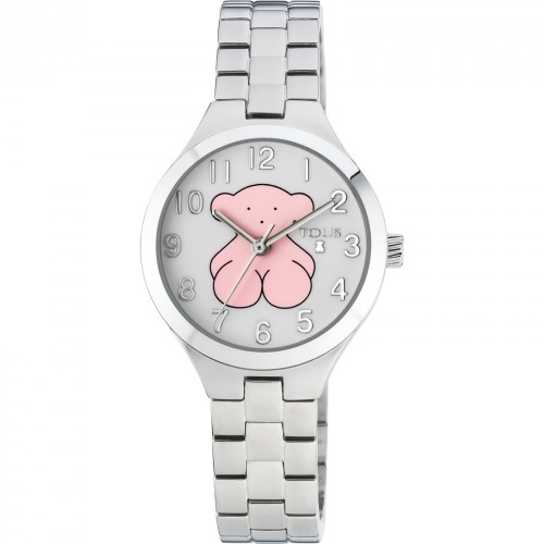 Reloj Tous Muffin Brazalete Acero Osito Rosa