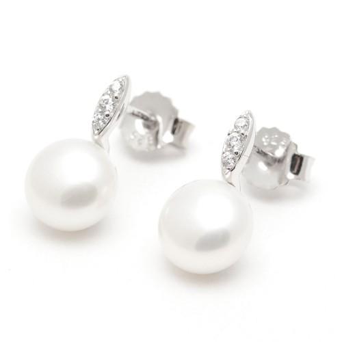 Pendientes Plata Perlas Barrita Circonitas
