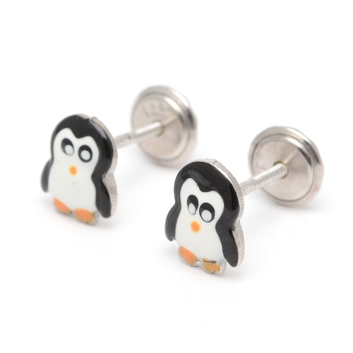 Pendientes Plata Pingüino