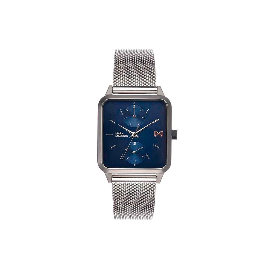 Reloj Mark Maddox Cuadrado Azul Brazalete Malla