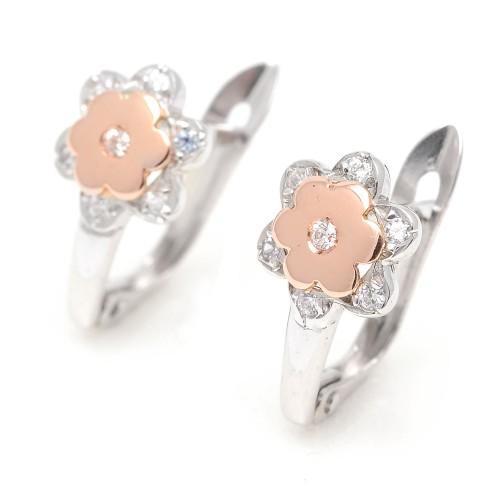 Pendientes Oro Blanco y Rosa Flor Circonitas