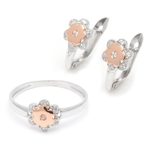 Aderezo Oro Blanco y Rosa Flor Circonitas