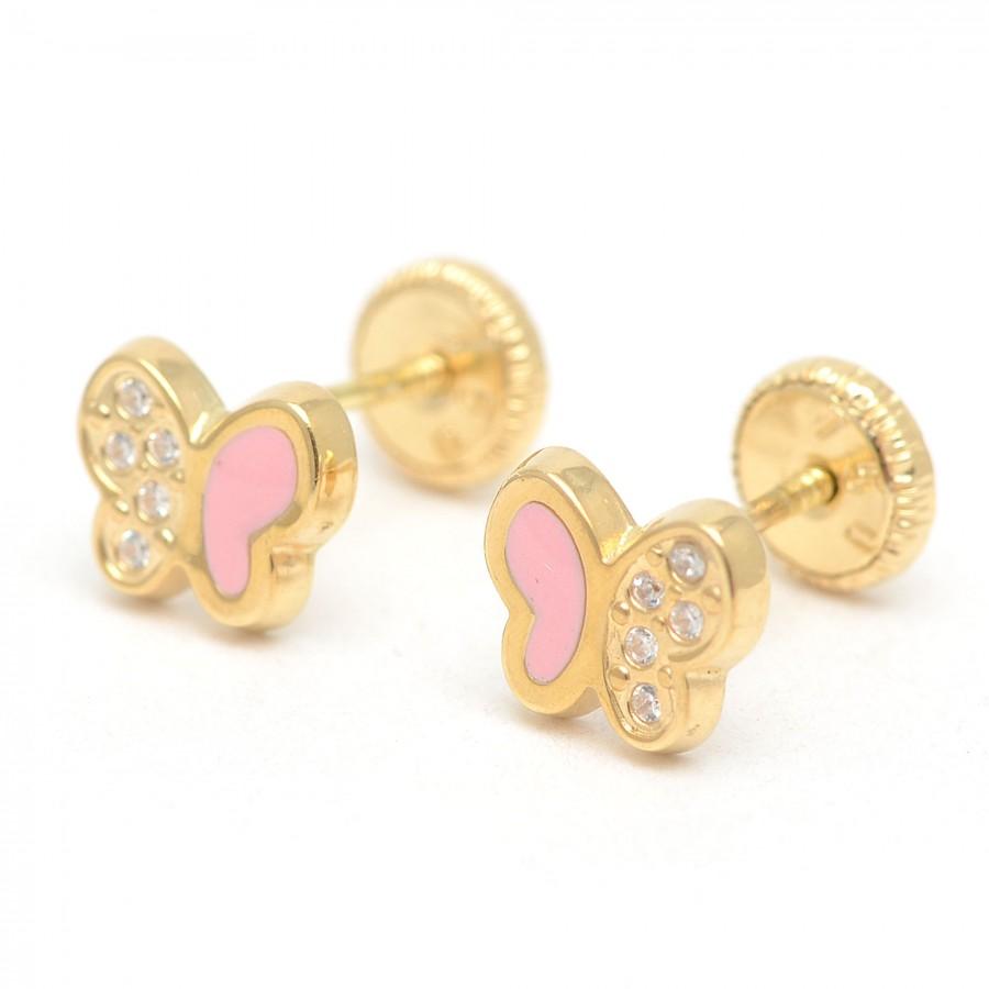 Pendientes Oro Bebé Mariposas Rosa Circonitas