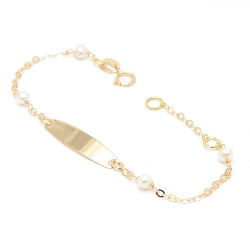 Pulsera Oro Bebé Placa Perlas