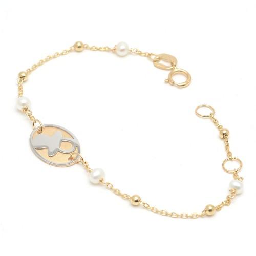 Pulsera Oro Bebé Placa Chupete Perlas