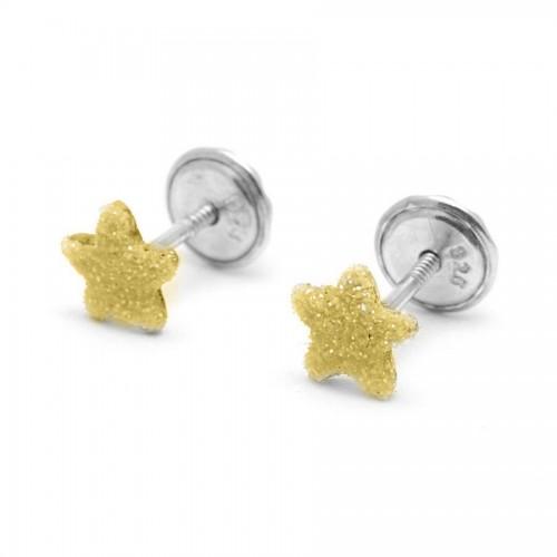 Pendientes Plata Estrella Dorada