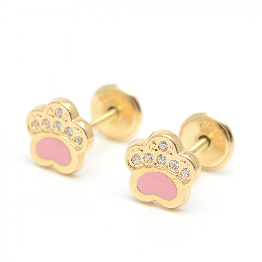 Pendientes Oro Bebé Huellas Rosa Circonitas