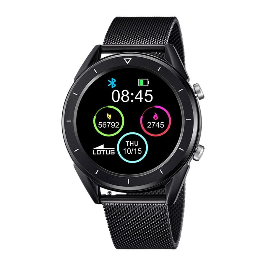 Smartwatch Lotus brazalete de malla de acero negro
