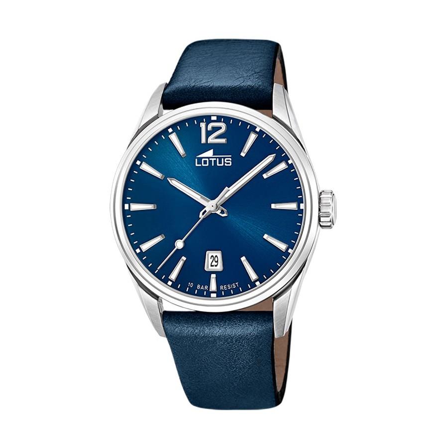Reloj para hombre Lotus azul con correa de piel