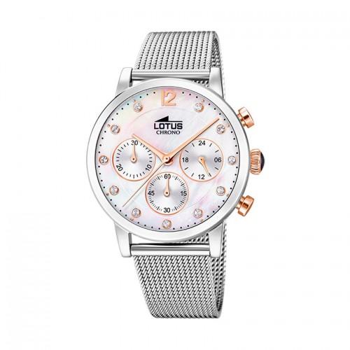 Reloj chica Lotus nácar blanco brazalete de malla