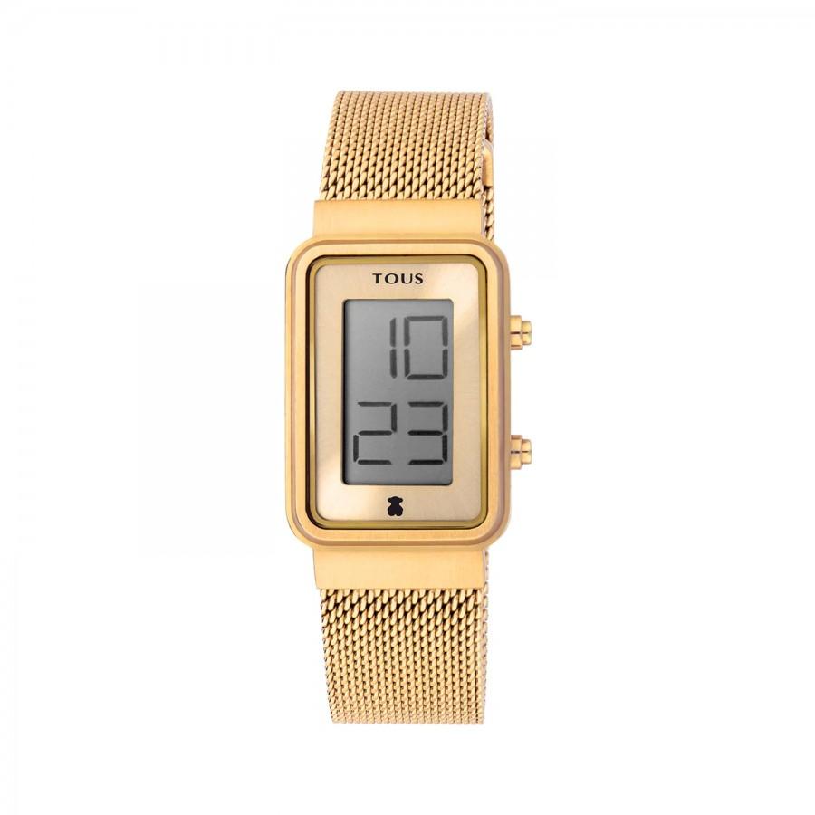 Reloj Tous Digital Digisquared Dorado Brazalete Malla Acero
