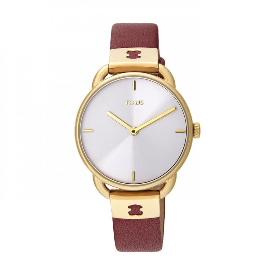 Reloj Tous Let Leather Dorado Correa Piel Roja