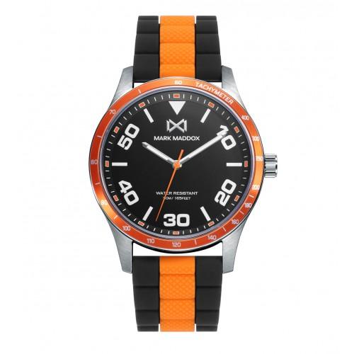 Reloj Mark Maddox Acero Correa Goma Naranja