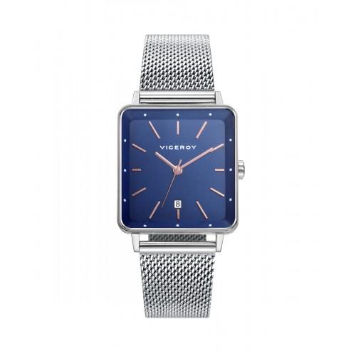 Reloj Viceroy Cuadrado Azul Brazalete Malla Acero