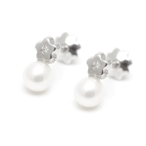 Pendientes Diamante Oro Blanco Flor Perla