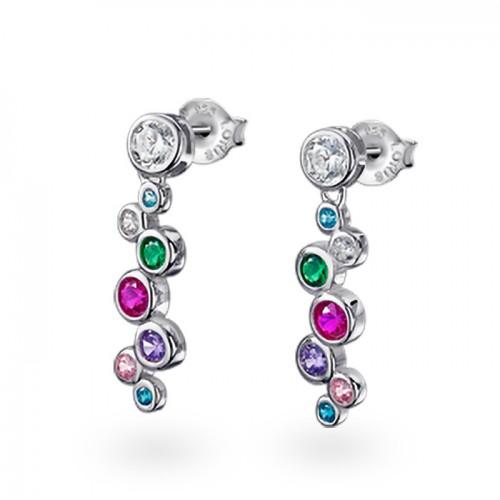 Pendientes de Plata Lotus Largos con Cristales de Colores