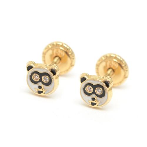 Pendientes Oro Bebé Oso Panda