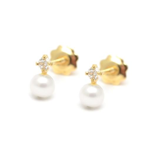 Pendientes Oro Bebé Perla Circonita