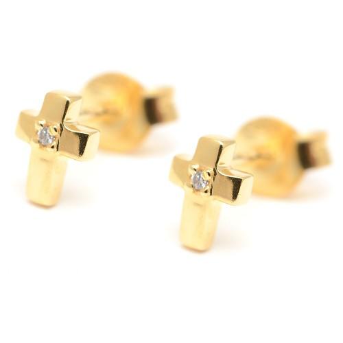 Pendientes de oro cruz circonitas