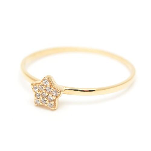 Sortija Oro Estrella Circonitas