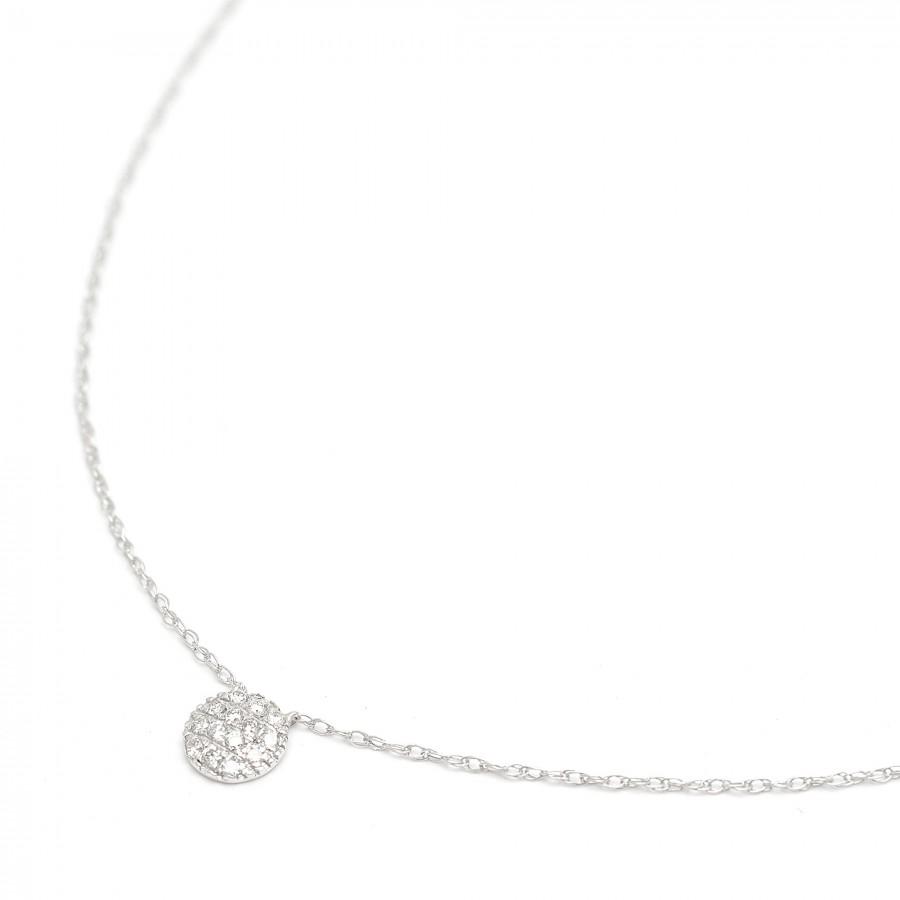 Gargantilla de oro blanco con círculo de diamantes