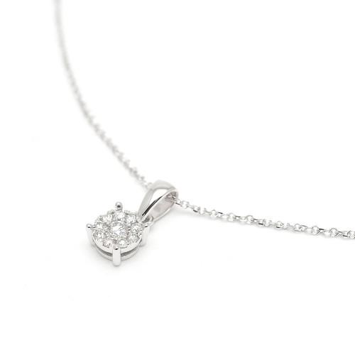 Gargantilla Oro Blanco Rosetón Diamantes