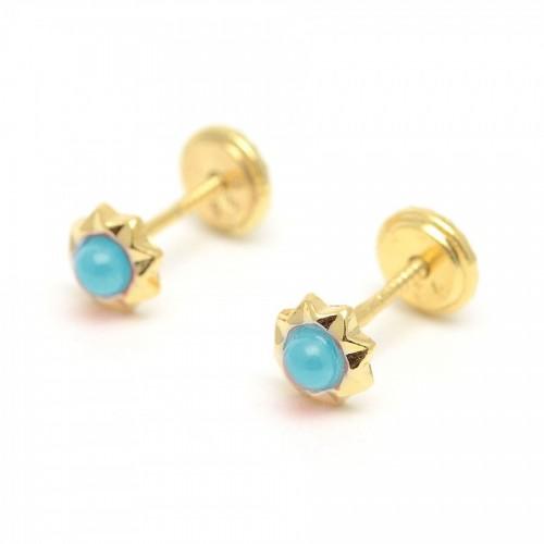 Pendientes Dorados Rosca Estrella Turquesa Azul