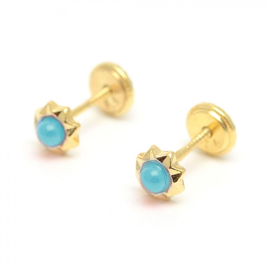 Pendientes dorados estrella turquesa azul