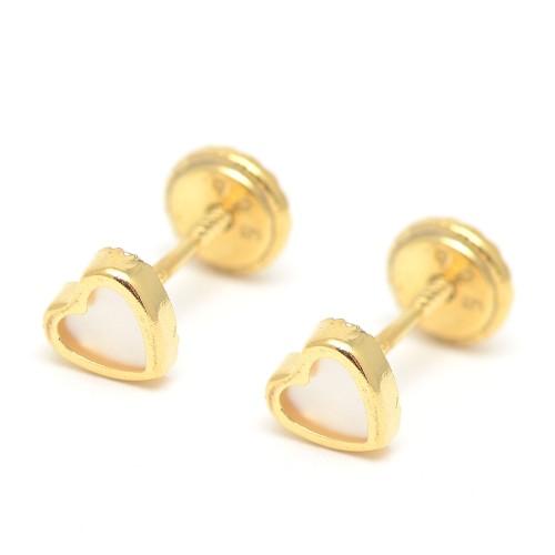 Pendientes Dorados Rosca Corazón Nácar